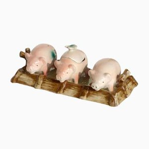 Antique English Pottery Pigs Salt & Pepper, Early 1900s, Set of 3