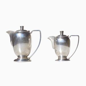 Silver Alpacca Hotel Teapots, 1920s, Set of 2