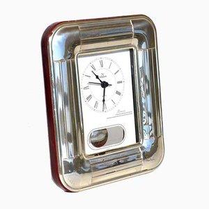 Orologio da tavolo argentato di Pierre Cardin, anni '90