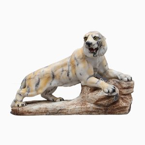 Tiger Skulptur aus dem frühen 20. Jahrhundert in Alabaster-Optik