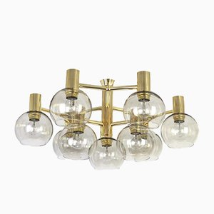 Lámpara de araña de latón estilo Sciolari, años 60