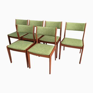 Teak Dining Chairs in Green Fabric from IMHA, 1960s, Set of 6