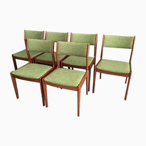 Teak Esszimmerstühle mit Grünem Bezug von IMHA, 1960er, 6er Set
