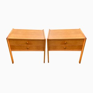 Mid-Century Danish Oak Bedside Tables, Set of 2