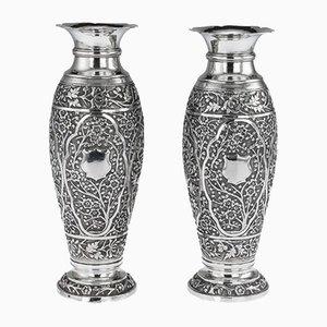 Antike Vasen aus massivem Silber, 2er Set