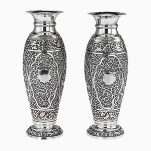 Antique Solid Silver Vases, Set of 2