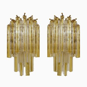 Murano Glass Triedri Cascade Sconces with Amber & Clear Crystal Pendants by Paolo Venini, 1970s, Set of 2
