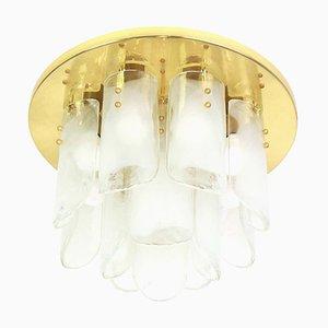 Brass and Murano Glass Light Fixture by Kalmar for Kalmar, 1970s