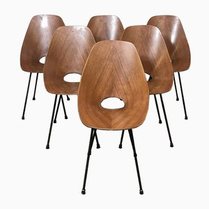 Italian Plywood Medea Dining Chairs by Vittorio Nobili for Fratelli Tagliabue, 1950s, Set of 6