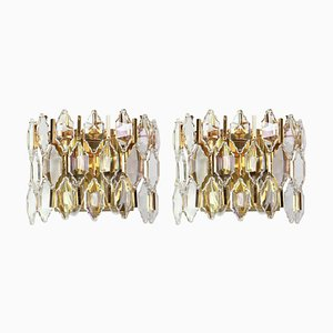 Golden Gilded Brass and Crystal Sconces from Palwa, 1970s, Set of 2