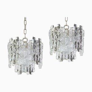 Murano Eisglas Hängelampen von Kalmar, 1960er, 2er Set