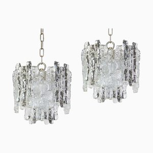 Murano Ice Glass Pendants from Kalmar, 1960s, Set of 2