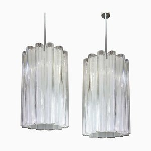 Cylindrical Pendant Fixture with Crystal Glass from Doria Leuchten, 1960s