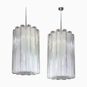 Zylindrische Hängelampe aus Kristallglas von Doria Leuchten, 1960er
