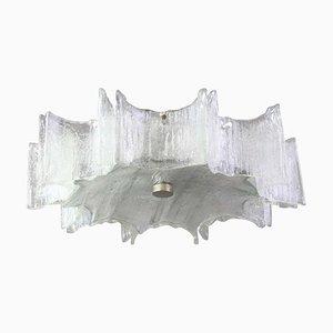 Große Verchromte Deckenleuchte aus Verchromtem Milchglas von Kaiser Leuchten, 1960er