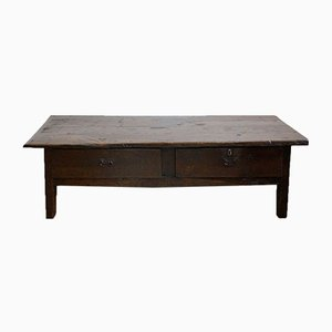 Big Antique Spanish Coffee Table with Two Drawers, 1900s