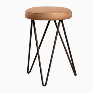 Leather and Metal Stools, France, 1950s, Set of 2