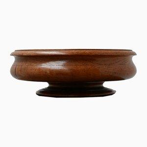 Antike Schüssel aus gedrechseltem Eichenholz