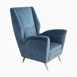 Italienischer Sessel mit Messingbeinen von ISA Bergamo, 1950er