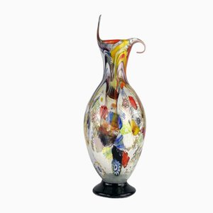 Murrine and Silver Vase in Murano Glass by Valter Rossi for VRM