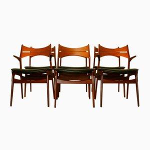 Sedie da pranzo 310 in teak di Erik Buch per Christensens Møbelfabrik, anni '60, set di 6
