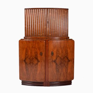 Art Deco Walnuss Cocktail Schrank, 1930er