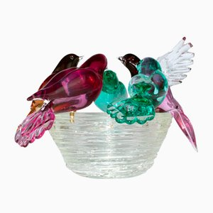 Nest with 5 Birds in Murano Glass by Valter Rossi for VRM