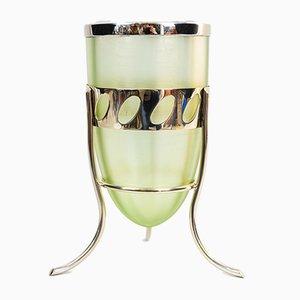 Österreichische Mouchbrauner Mundgeblasene Glas Alpakawundvase von Friedrich Otto Schmidt, 1902