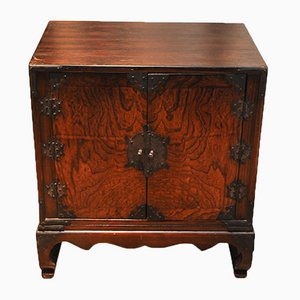 Antique Korean Walnut Veneer Wedding Chest with Ebonised Fittings