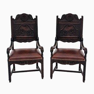 Antike bretonische Armlehnstühle, 1880er, 2er Set