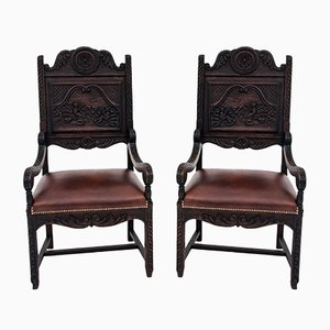 Renovated Antique Breton Armchairs, 1880s, Set of 2