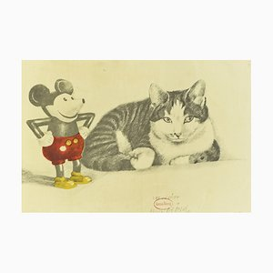Cat & Mickey, Lithograph, 1970s