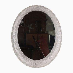 Specchio ovale con luce e bordo in plexiglas di Hillebrand Lighting, anni '60
