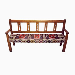 Continental Oak and Ash Kilim Upholstered Bench
