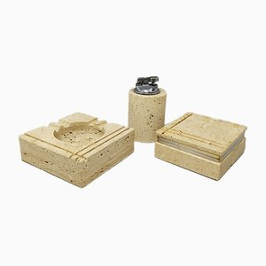 Vintage Smoking Set in Travertine by Enzo Mari for Fratelli Mannelli, Set of 3