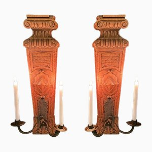 Oak and Wrought Iron Wall Sconces, Set of 2