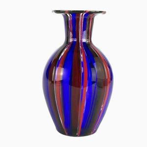 Vaso a strisce in vetro di Murano di Valter Rossi per VRM