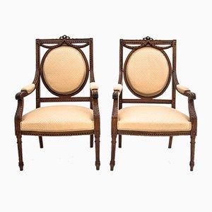 French Louis XVI Style Armchairs, Circa 1880, Set of 2