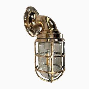 Bronze Wandlampe mit Käfig & Glasschirm von Crouse Hinds, 1960er