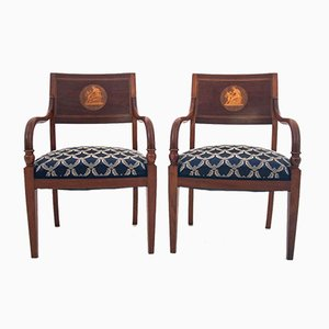 Renovated Antique Northern European Empire Armchairs, Circa 1910, Set of 2