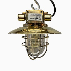 Japanese Bronze Industrial Ceiling Light with Brass Shade & Glass Dome from Kokosha, 1980s