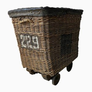Large Industrial Wicker Linen Trolley on Wheels