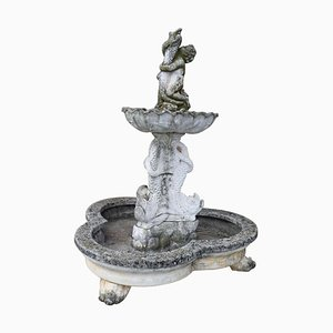 Neoclassical Stone Garden Fountain with Statue, 1930s