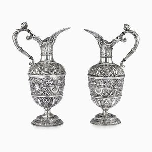 Antique Solid Silver Cellini Ewer Jugs from James Dixon & Sons, Set of 2