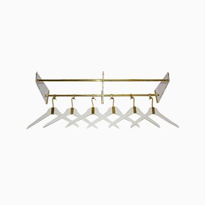 Brass Lucite Beechwood Gold White Coat Rack with 6 Cloth Hangers, 1950s