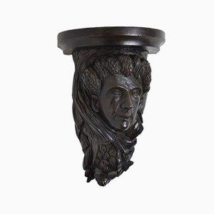 Große Antike Wandlampe aus geschnitzter Eiche