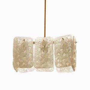 Lámpara de araña austriaca de vidrio de hielo de J.T. Kalmar