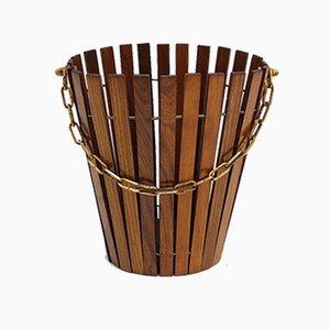 Mid-Century Ash Wood Paper Basket, Austria, 1950s