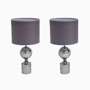 Chromed Table Lamps with Lavender Chintz Shades, 1960s, Set of 2