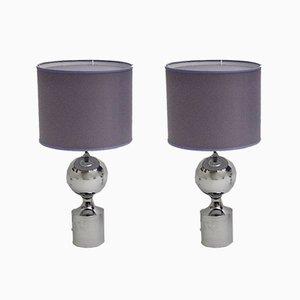 Verchromte Tischlampen mit lavendelfarbenen Chintz Schirmen, 1960er, 2er Set